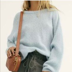 Free People Blue Angelic Crew Neck Pullover